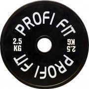 Диск для штанги каучуковый, черный, PROFI-FIT D-51, 2,5 кг