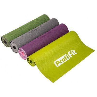 Коврик для йоги и фитнеса PROFI-FIT, 6 мм, ПРОФ (фиолетовый/розовый)
